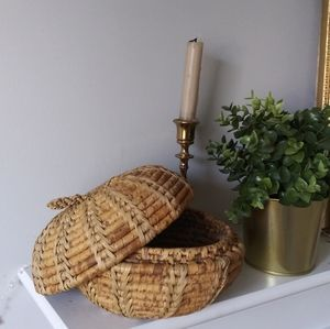 Woven basket with lid fruit boho farmhouse style